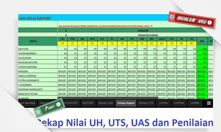 [File Pendidikan] Download Gratis Aplikasi Rekap Nilai Ujian dan Nilai Raport versi Excel