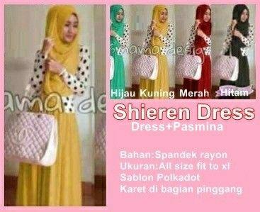 SHIEREN DRESS Harga: Rp. 100.000, Bahan: Spandex Rayon Ukuran: All size fit to xl Dress+pasmina dg sablon polkadot +karet dibagian pinggang #Katalog_HijabManis #HijabManis #Dress #Shieren #Spandek #BusanaMuslim #Cantik