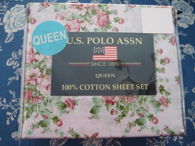 U.S. Polo Assn Shabby Chic ROSES Floral Cotton QUEEN Sheet Set NEW            #USPoloAssn