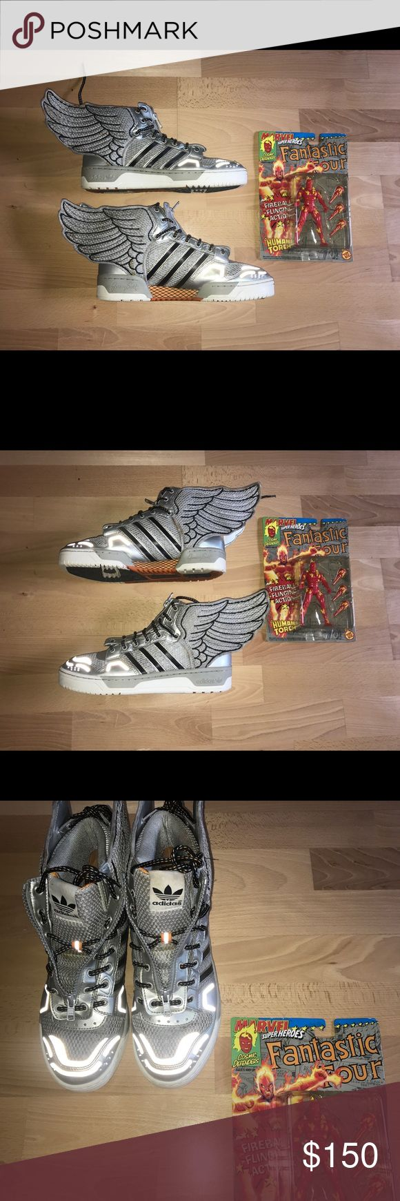 Jeremy Scott Silver Wings Size 9!!!! From Adidas x Jeremy Scott collaboration  *Some discoloration on inside and wings *Does not come with original box Jeremy Scott x Adidas Shoes Sneakers