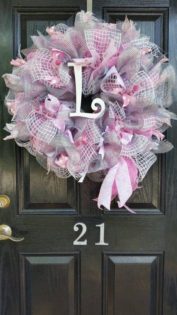 480b7fda0e072 Large Mesh Ribbon Wreath Baby Girl Shower Nursery Hospital Door Room ...