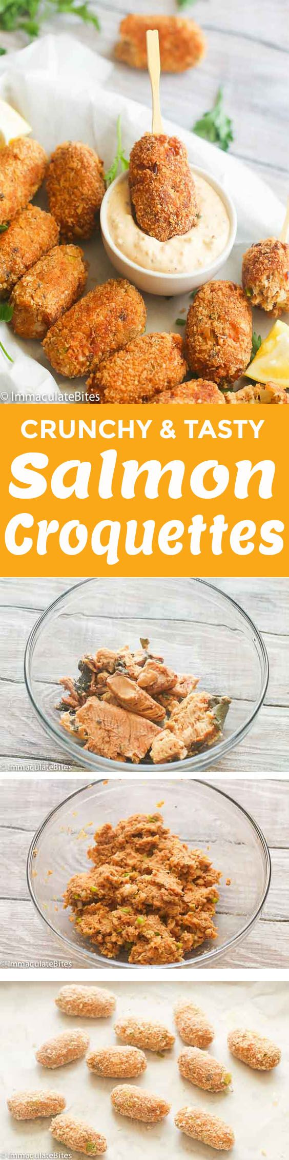 Salmon Croquettes – pan fried, protein-packed, breadcrumbed rolls made with  salmon and aromatics. It makes for  a quick and tasty appetizer , breakfast or dinner fix. Very budget-friendly and simple to make! Depending on your family history, these Salmon Croquettes are also referred to as salmon cakes or salmon patties. But one …
