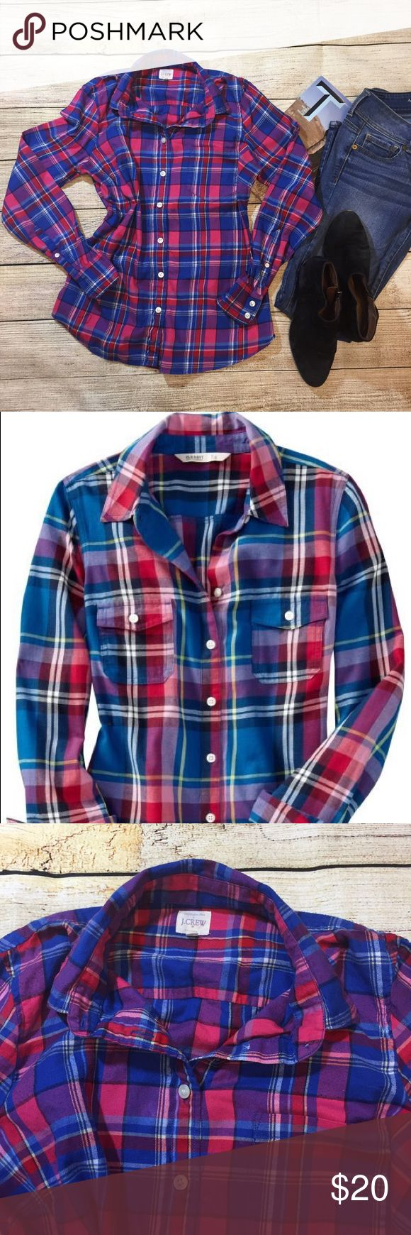 {J. Crew} colorful flannel J. Crew blue, pink, purple & red flannel.  Size Med. excellent condition. J. Crew Factory Tops Button Down Shirts