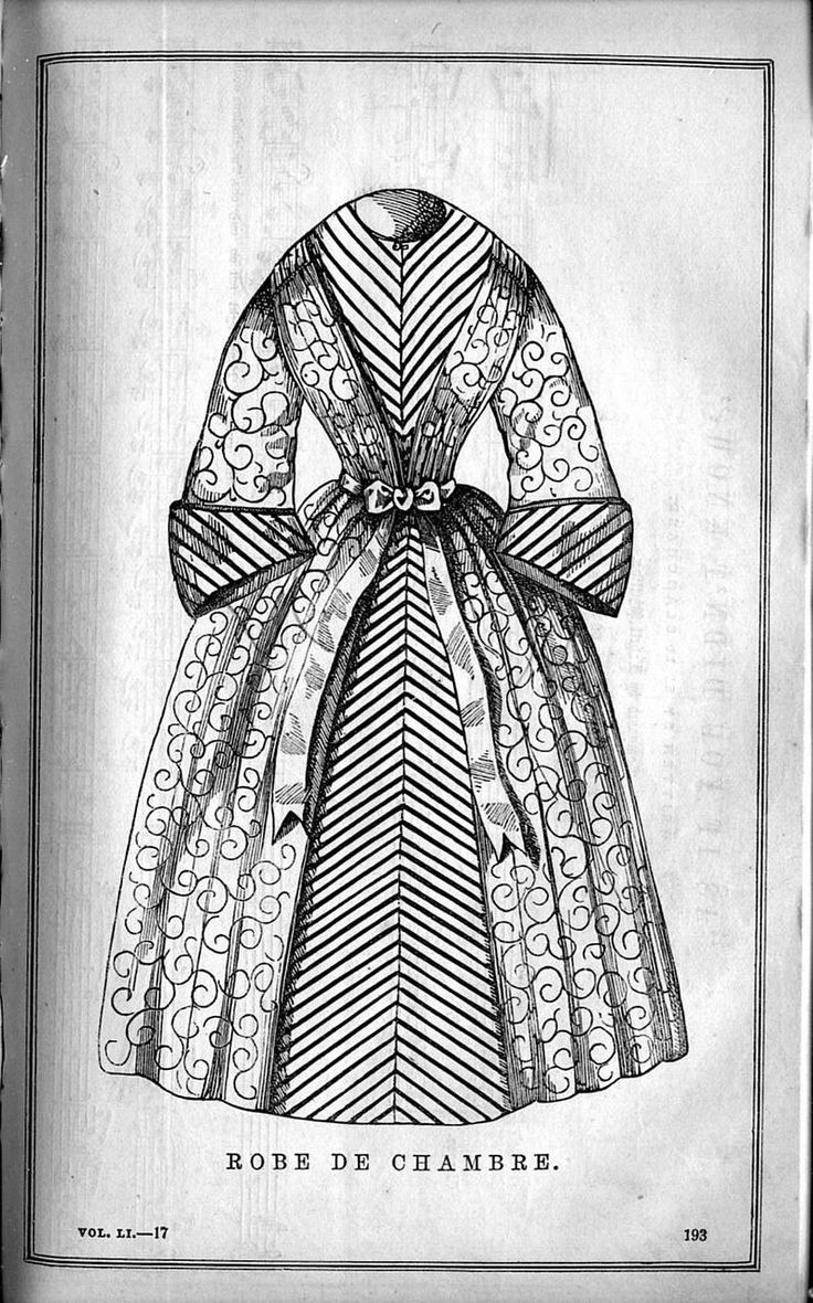 "1850s Victorian Bathrobe.  ""Robe de Chambre"" from Godey's Lady's Book. uvm.edu (University of Vermont)"