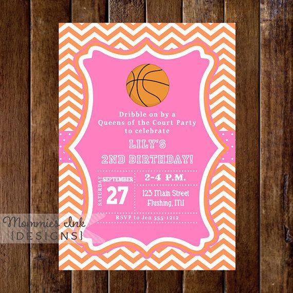 Basketball Invitation Birthday Queens Of The Court Party Girls Sports Invite Allstar