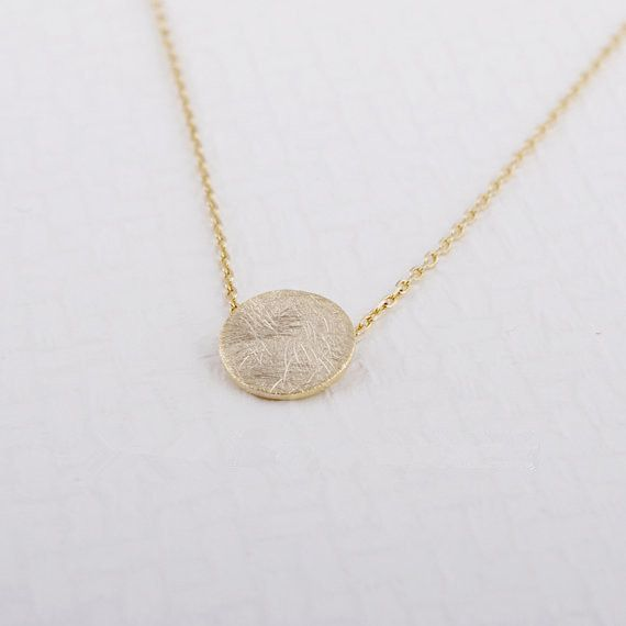 Fashion Gold plated silver plated Brushed Round Circle Necklace Pendant Necklace for women gift Free Shipping Wholesale