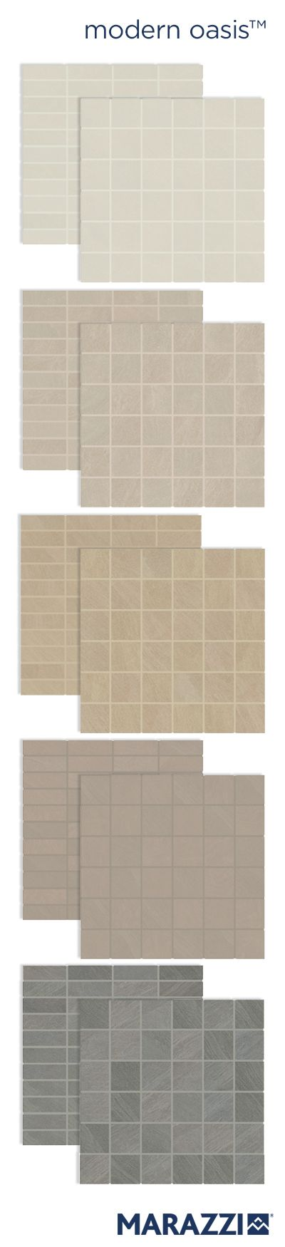 Monochromic shadings and texture resembling windswept sand dunes define the contemporary limestone vibe of Modern Oasis™. In addition to a coordinating floor tile, Modern Oasis is offered  in a square 2x2 mosaic and a stacked 1x3 mosaic. Both are available in Soft Cloud, Morning Haze, Desert Sand, Gentle Rain, and Stormy Sky.