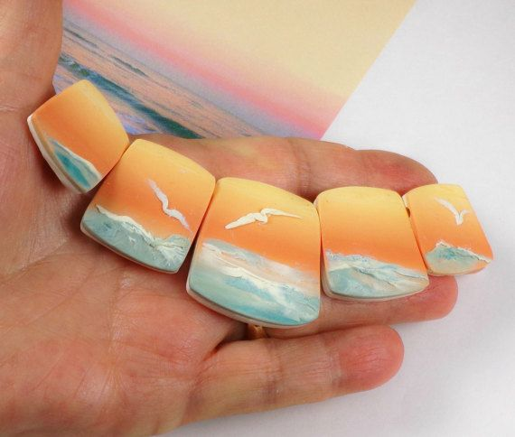 Handmade Polymer Clay Graduated 5 Bead Panorama-Sun Kissed Over the Water-Beach Ocean Theme-Coral Turquoise-Coastal Beads-PA 8554