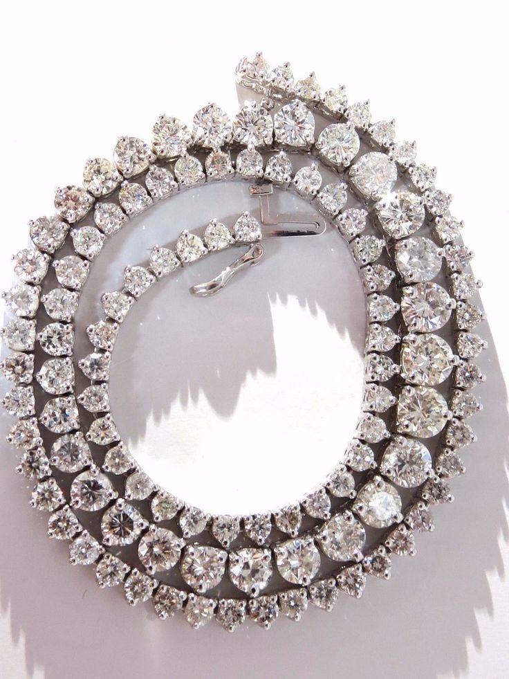 20.00ct natural round brilliant diamonds tennis necklace 14kt classic Riviera