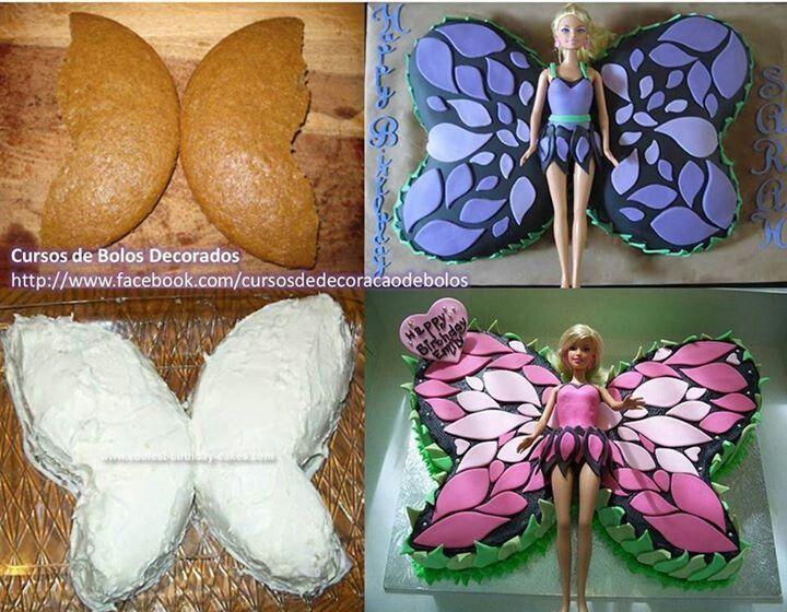 babrie cupcake cake | Barbie butterfly cake | Inspiration cake, cupcakes cookies