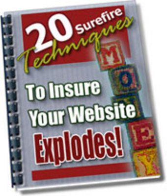 20 Surefire Techniques To Insure Your Website Explodes! + Free eBooks. Price: US$3.95