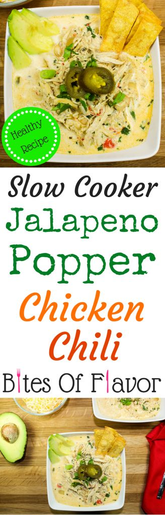 Slow Cooker Jalapeno Popper Chicken Chili-All the flavors of jalapeno popper dip without the guilt. Slow cooked chicken mixed with a creamy broth, white beans, & cream cheese. Not too spicy with just the right kick. Weight Watcher friendly recipe. www.bitesofflavor.com