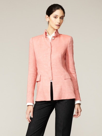 Wool Mandarin Collar Jacket by Akris on Gilt.com
