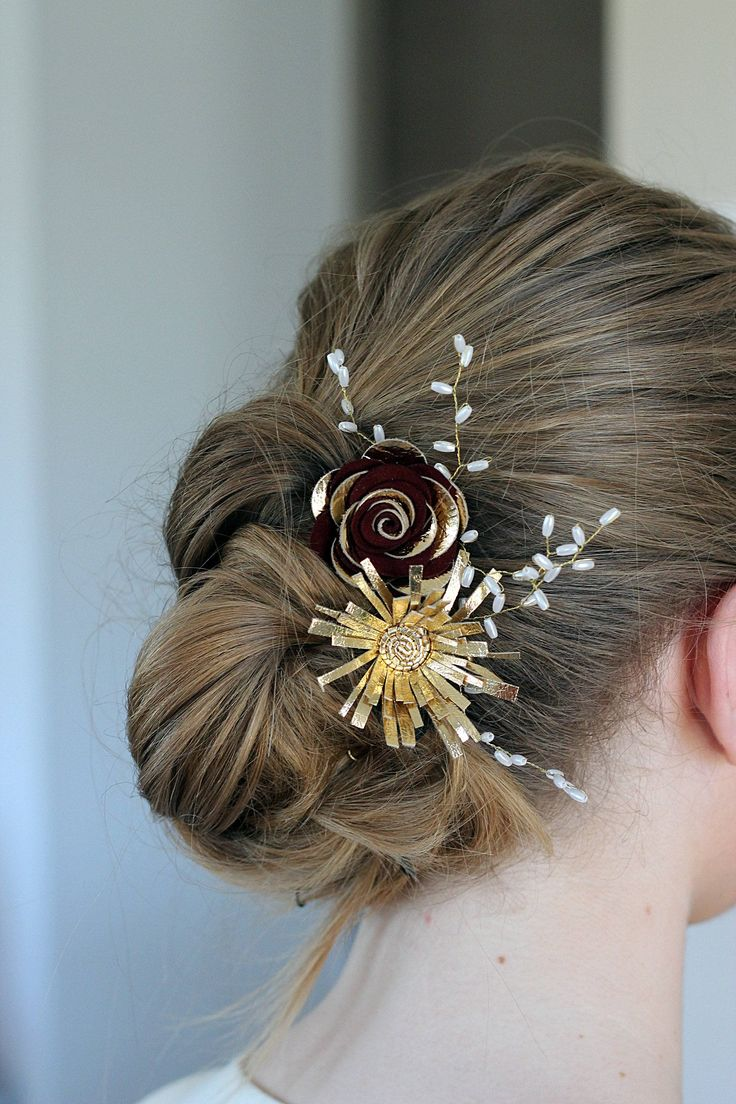 Bridal burgundy gold wedding hair comb, vintage bridal wedding head flower pin, wedding hair flower head wreath,white head band with flowers by NevesticaWeddings on Etsy