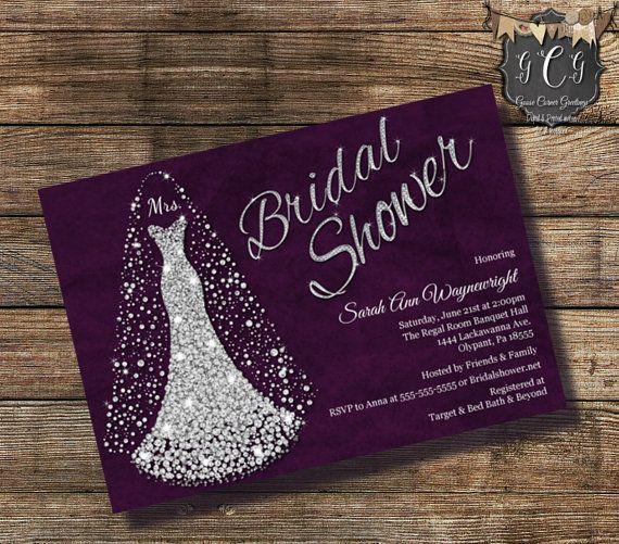 Wedding Dress Invitation, Bridal Shower, Diamond wedding dress invitation, Bridal Shower invitations, Rhinestone Invitation, Silver & Purple