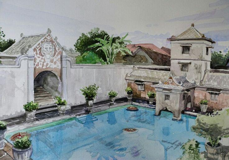 Water castle in watercolor by andryz_a