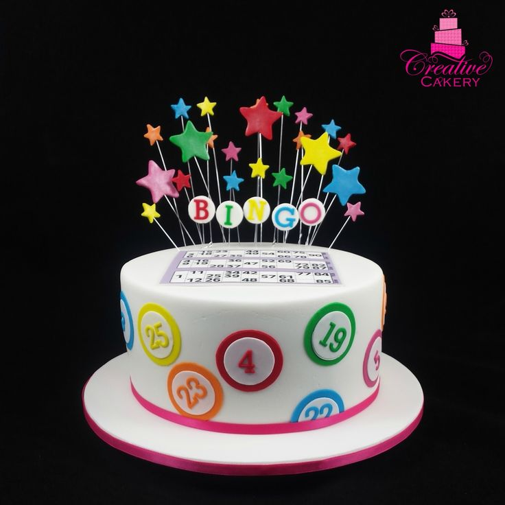 """Bingo Cake. This cake was covered in white fondant and decorated in a """"Bingo""""…"""