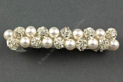 Pearl & Diamante Barrette- Bridal Hair Clip - Hair Accessories- Bridal Hair Accessories by Makewithlovecrafts on Etsy
