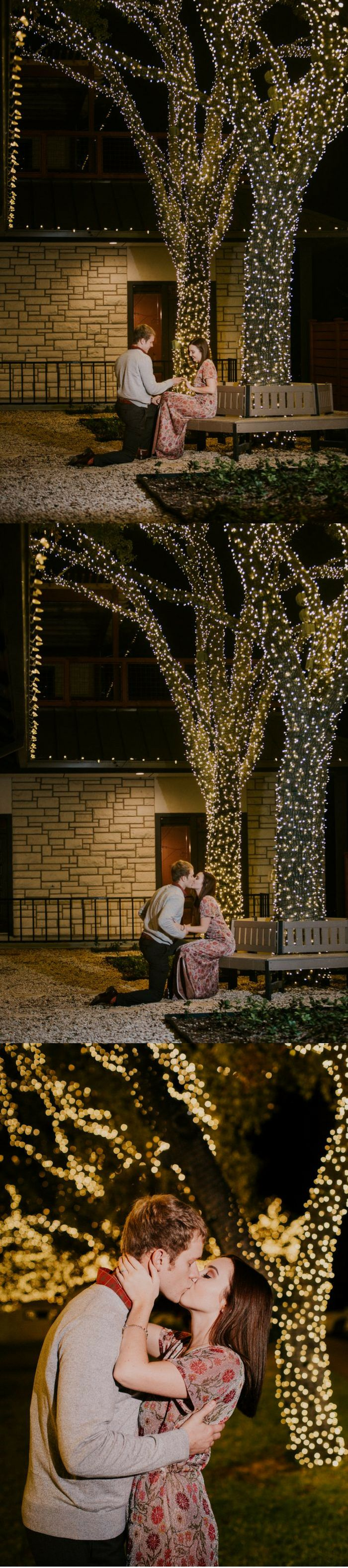 He chose the most perfect park bench to propose under the Christmas lights, and the full story is adorable.