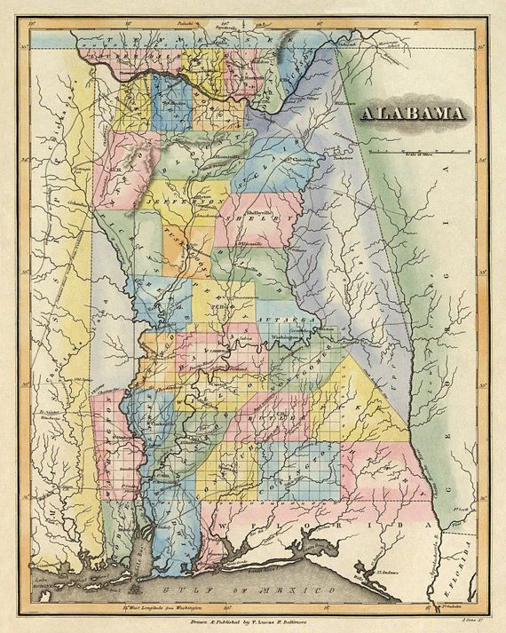 Antique Map Of Alabama Map Of Alabama State By Ancientshades