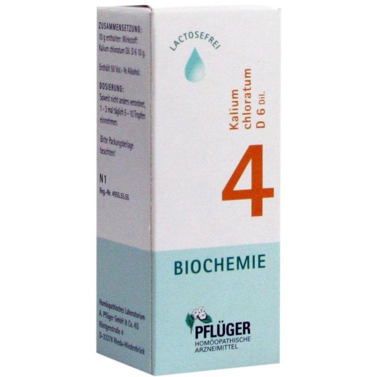 BIOCHEMIE Pflueger 4 Kalium chloratum D 6 Tropfen:   Packungsinhalt: 30 ml Tropfen PZN: 06324092 Hersteller: A.Pflüger GmbH & Co. KG…