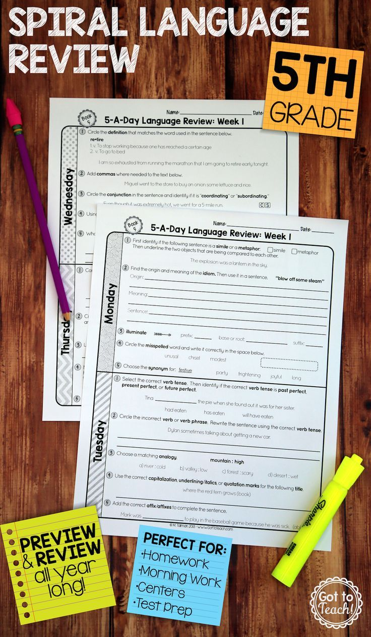 36 weeks of daily Common Core language review for fifth grade! Preview and Review important 5th grade language skills all year long! Perfect for homework, morning work, or test prep! 5-A-Day: 5 tasks a day, M-Th. CCSS L.5.1-L.5.6. Available for 3rd - 8th grades! $