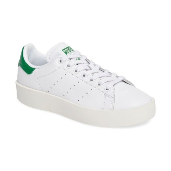 Women's Adidas Stan Smith Bold Platform Sneaker ($110) ❤ liked on Polyvore featuring shoes, sneakers, adidas trainers, striped shoes, platform sneakers, adidas and adidas sneakers