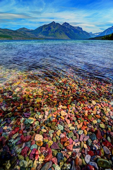 Colorful rocks at Glacier National Park Lake McDonald. Photo by Dana Raynor Cant wait to see it!
