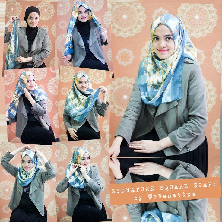 Hijab Tutorial: Signature Square Scarf   Haura Insiyah