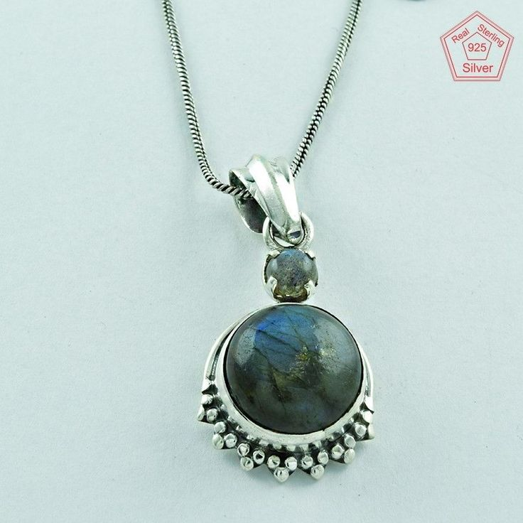 COMFORTABLE !! Labradorite Stone Sterling Silver Necklace Jewelry P3265…