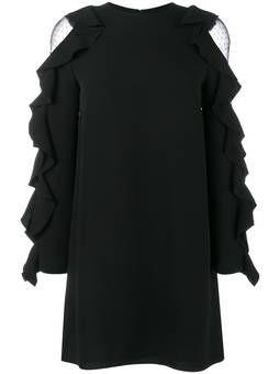 мини-платье с оборками на рукавах