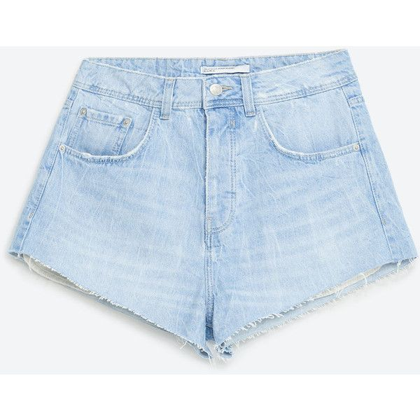 SHORT DENIM TIRO ALTO - SHORTS-TRF | ZARA México (980 MXN) ❤ liked on Polyvore featuring shorts, zara, high-waisted shorts, high rise shorts, high rise jean shorts, high-rise shorts and jean shorts