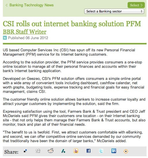 CSI rolls out internet banking solution PFM - Banking Business Review.jpg by Geezeo, via Flickr