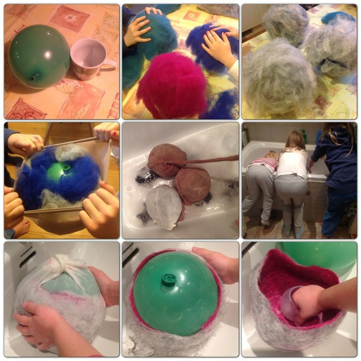 Wet felting wool bowls on balloons.