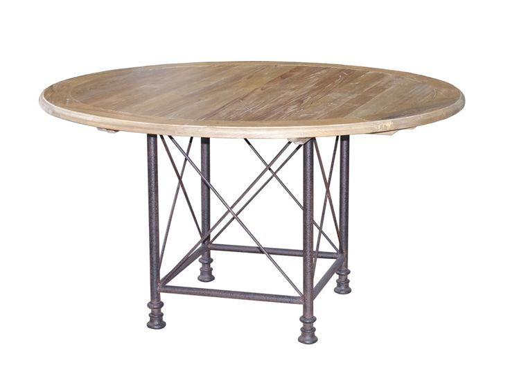 Raffles rundt spisebord i res. furu og jern (dia. 140 cm)