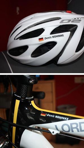 Love cycling? Personalise your bike, helmet and more with high-quality custom stickers that display your name and flag.
