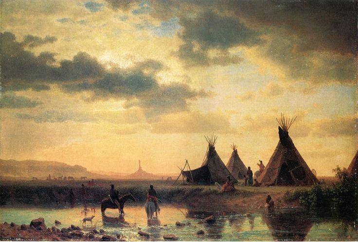 A painting of a Lakota village at dusk by Albert Bierstadt
