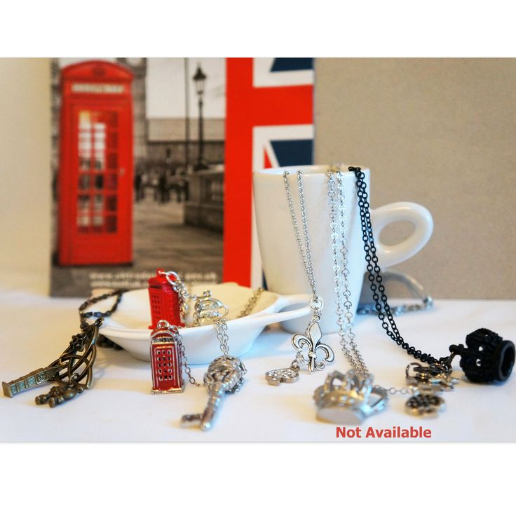 British inspired metallic long necklace collection