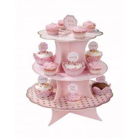 Support à cupcakes rose Pink party, décoration anniversaire et fêtes à thème sur Vegaoo Party