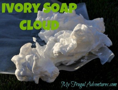 Ivory Soap Cloud -  Use Ivory Soap cut into Pieces and a Microwave Oven -  So Cool, I will have to try this!   - - -    http://myfrugaladventures.com/2012/06/childrens-craft-idea-ivory-soap-clouds/