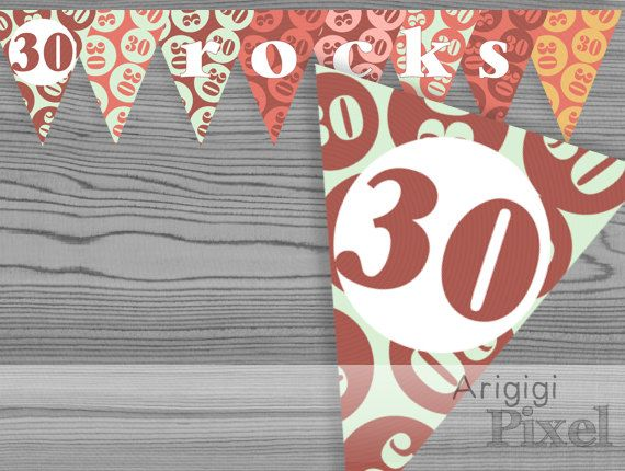 30 rocks birthday banner, printable earth tones birthday party decoration, 30th birthday, Pdf file instant download, ready to print