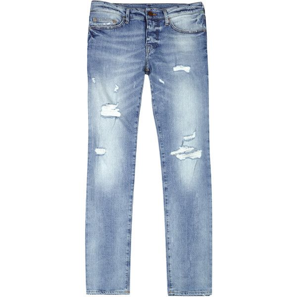 True Religion Rocco Distressed Skinny Jeans - Size W36 ($245) ❤ liked on Polyvore featuring men's fashion, men's clothing, men's jeans, mens light blue jeans, mens distressed skinny jeans, mens light blue skinny jeans, mens ripped skinny jeans and mens skinny jeans