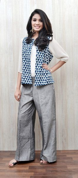 Blue Cotton Reversible Jacket with Silver Pants available on www.zoyashi.com
