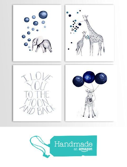 Baby Boy Gift, Navy Blue Nursery, Elephant Decor, Giraffe, Zebra, Animal Nursery Art - Set of Four Art Prints from TheDaisyFields http://www.amazon.com/dp/B01DKPBSD4/ref=hnd_sw_r_pi_awdo_LTboxb15STR4D #handmadeatamazon