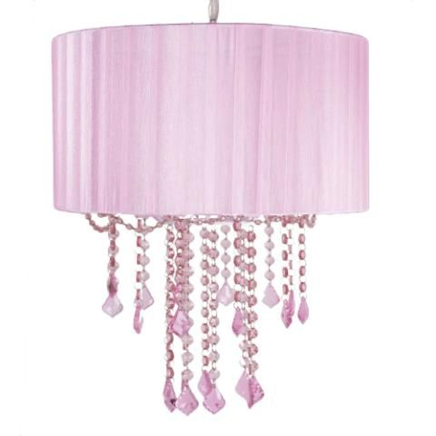 Decoraci n ni as lampara ara a pantalla rosa donde la for Decorar pantalla de lampara