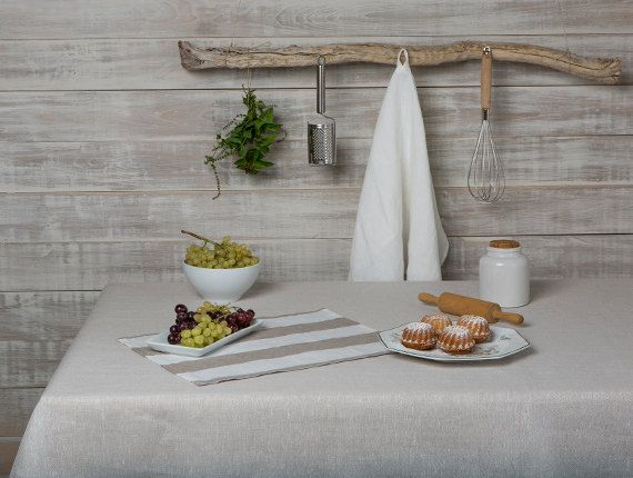 Linen tablecloth-Oatmeal Linen Tablecloth-Dining by LinenHomeDecor