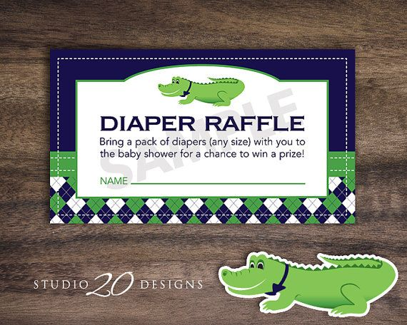 Instant Download Preppy Alligator Diaper Raffle Printable Preppy Alligator Baby Shower Diaper Raffle #62A by Studio20Designs