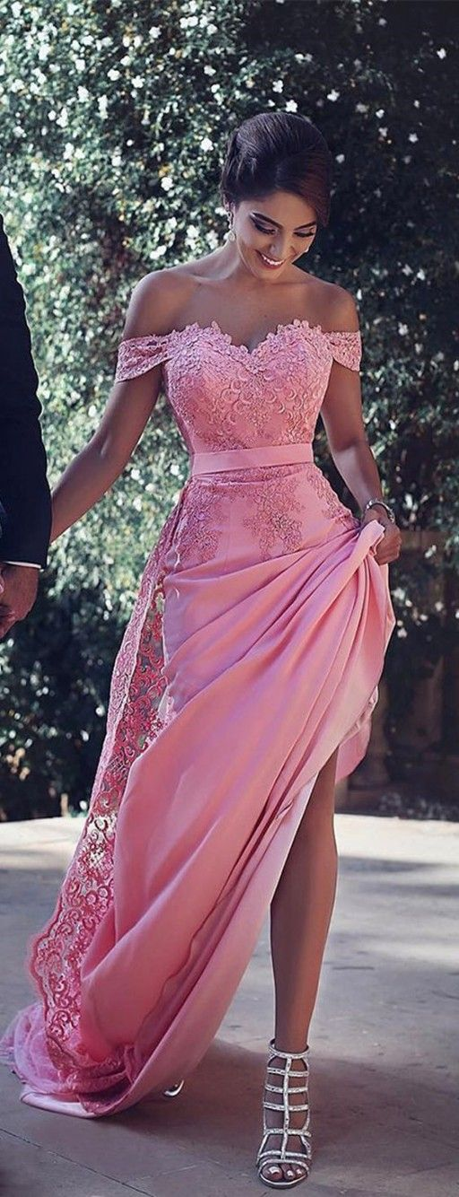 2017 Gorgeous Off the Shoulder Lace Appliques Prom Dress with Side Split,Sexy Pink Evening Dress for Women