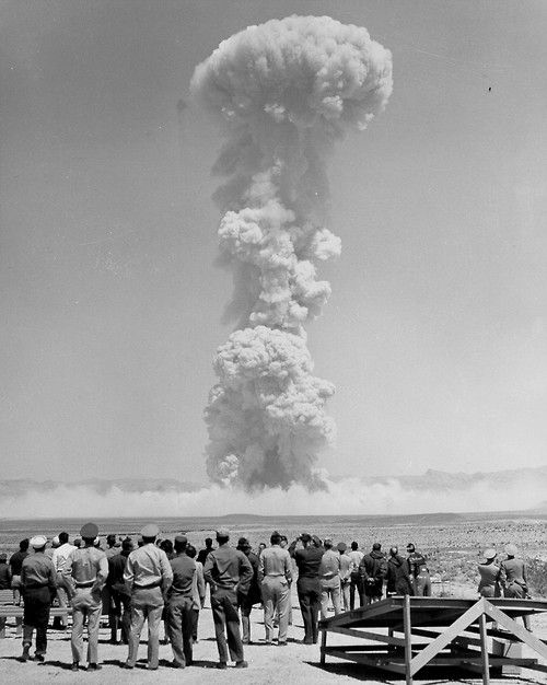 Atom bomb test, 1950s. Many of the soldiers and scientists later got cancer as a result of radiation exposure.