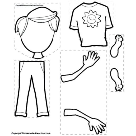 10 best printable worksheet for preschool images on for Body parts coloring pages for preschool